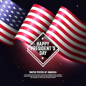 Bandeira americana realista para o dia do presidente