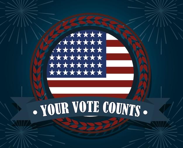 Bandeira americana sua contagem de votos, votação política e eleições eua, faça valer ilustração