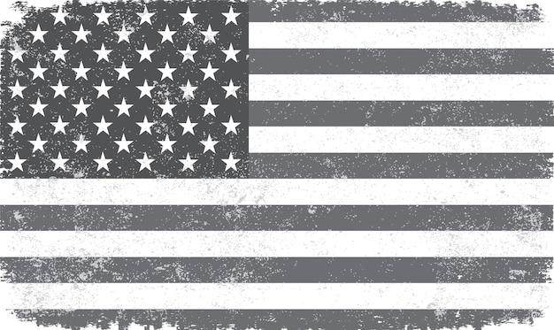 Bandeira americana vintage preto e branco