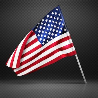 Bandeira americana voando bandeira ondulada