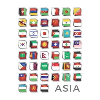 Bandeira asiática ícone coleção
