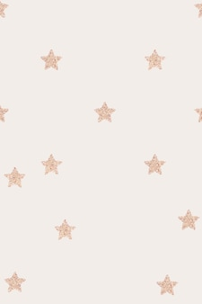Bandeira bege com padrão de estrelas metálicas em ouro rosa