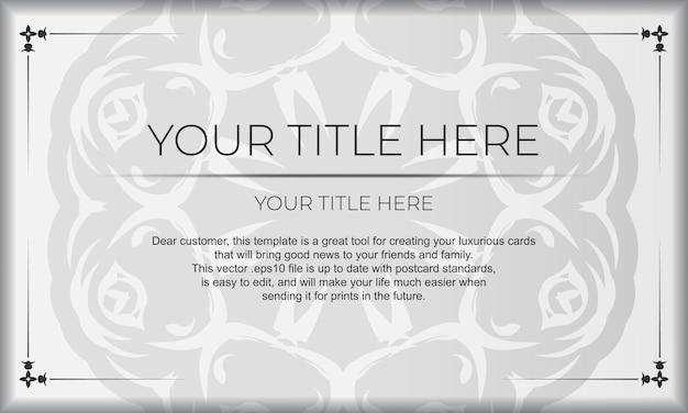 Bandeira branca com ornamentos abstratos e lugar para o seu projeto. modelo de cartão de convite para impressão de design com padrões de mandala.