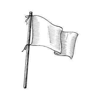 Bandeira branca desenhada de mão