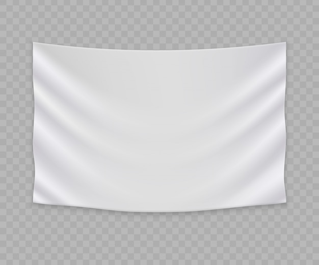 Bandeira branca em branco ou modelo de banner