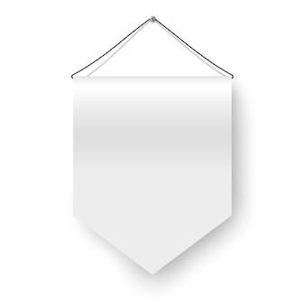 Bandeira branca pendurada isolada