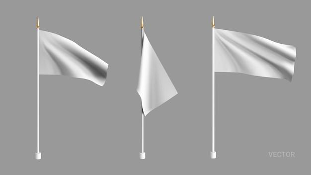 Bandeira branca realista balançando ao vento. defina sinalizadores 3d.