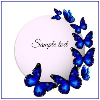 Bandeira branca redonda com borboletas azuis.