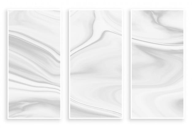 Bandeira branca vazia do efeito de mármore líquido abstrato