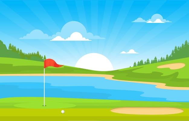 Bandeira campo golfe lagoa grama árvore esporte ao ar livre paisagem