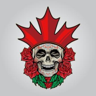 Bandeira canadá logotipo caveira açúcar dia de los muertos ilustrações