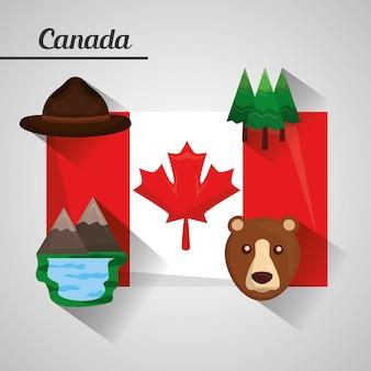 Bandeira canadá ranger chapéu pinheiros lago montanhas urso