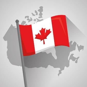 Bandeira canadense país mapa geografia localização