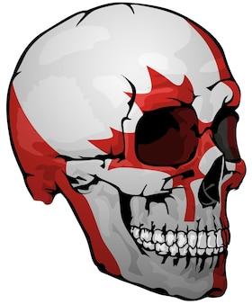 Bandeira canadense pintada em um crânio