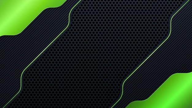 Bandeira cinza escura abstrata na malha de círculo preto com ilustração em vetor fundo tecnologia futurista moderna de design de luz verde.