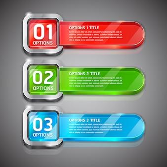Bandeira colorida das opções do número do estilo do web site dos botões & fundo do cartão.