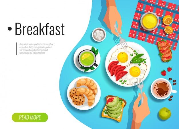 Bandeira colorida de café da manhã