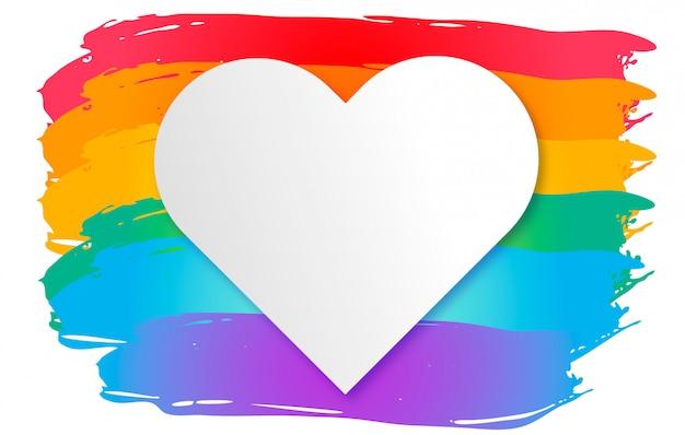 Bandeira colorida do orgulho com coração vazio. dia mundial do orgulho