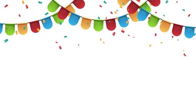 Bandeira colorida modelo de design de conceito feriado feliz dia, ilustração do vetor de celebração de fundo.