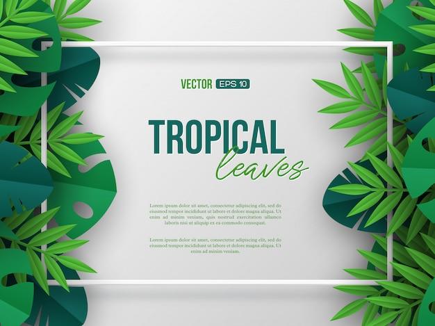 Bandeira com as folhas de palmeira tropicais exóticas da selva.