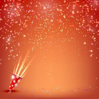 Bandeira com confetes e flâmulas em um fundo vermelho.