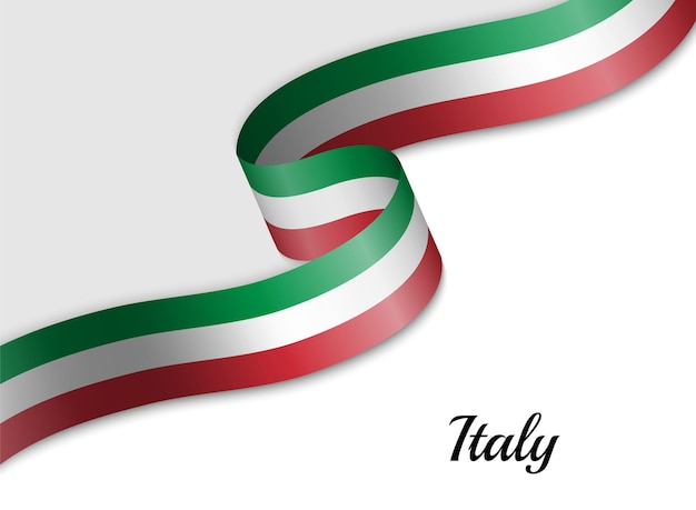 Bandeira com fita da itália