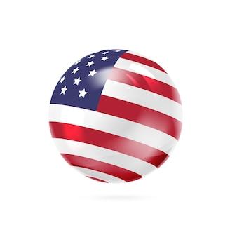 Bandeira com listras vermelhas, brancas e azuis na superfície da bola.