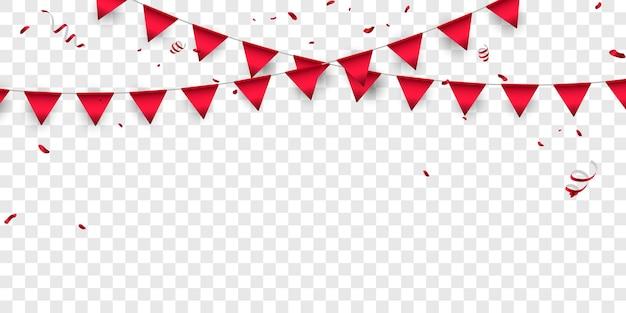 Bandeira confete vermelho conceito design modelo feriado feliz dia, ilustração do vetor de celebração de fundo.
