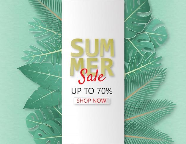 Bandeira criativa da venda do verão da ilustração com papercut e fundo tropical das folhas.