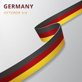 Bandeira da alemanha. 3 de outubro. ilustração vetorial. fita ondulada em fundo cinza. dia da independência. símbolo nacional. modelo de design gráfico.