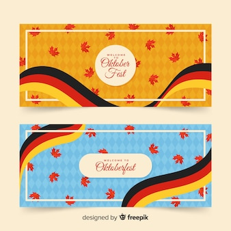 Bandeira da alemanha e folhas secas em banners da oktoberfest