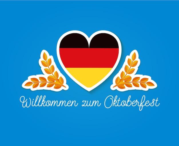 Bandeira da alemanha no coração, dois slikes e texto em alemão, bem-vindo ao festival de ilustração octoberfest flat