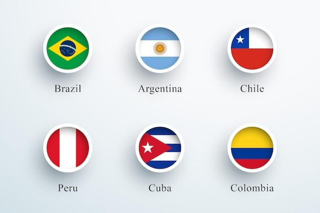 Bandeira da américa do sul definida como ícones redondos de botão 3d