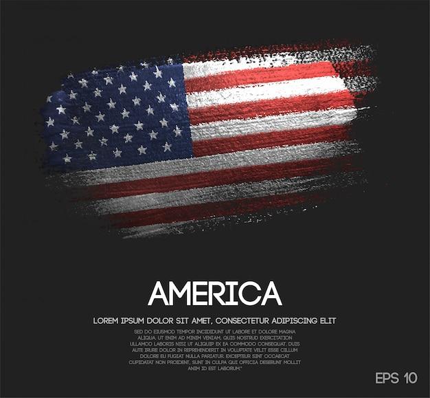 Bandeira da américa feita de glitter sparkle brush paint vector