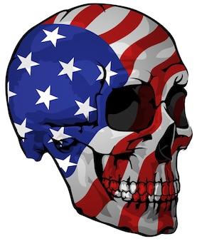 Bandeira da américa pintada em um crânio