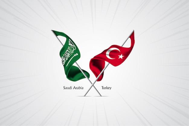 Bandeira da arábia saudita com a bandeira da turquia