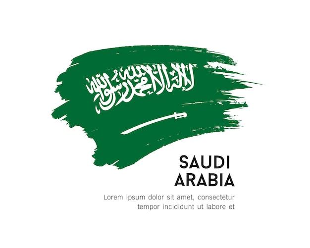 Bandeira da arábia saudita, desenho de pincelada de vetor isolado em ilustração de fundo branco.