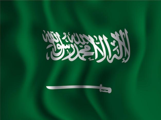 Bandeira da arábia saudita ondulada para o dia da independência