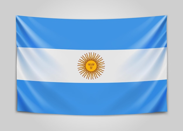 Bandeira da argentina pendurada. república argentina. bandeira nacional