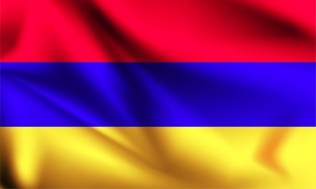 Bandeira da armênia ao vento. parte de uma série. bandeira de ondulação de armênia.