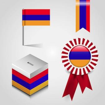 Bandeira da armênia impressa em itens diferentes