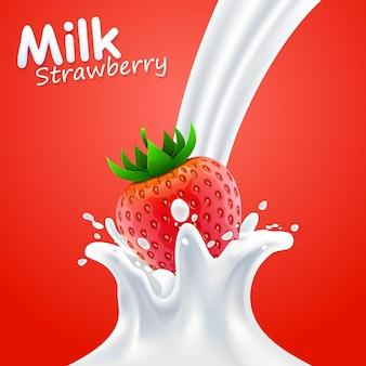 Bandeira da arte do rótulo leite morango. ilustração vetorial