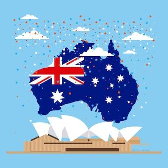Bandeira da austrália no mapa, teatro de ópera