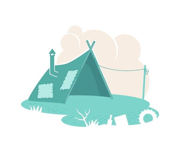 Bandeira da barraca do acampamento de refugiados, pôster. morar em favela. ilustração de assentamento de pessoas pobres no fundo dos desenhos animados. remendo de abrigo temporário, elemento colorido