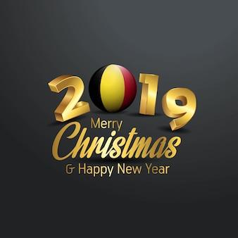 Bandeira da bélgica 2019 merry christmas tipografia