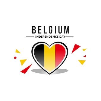 Bandeira da bélgica com padrão de coração usando cor oficial