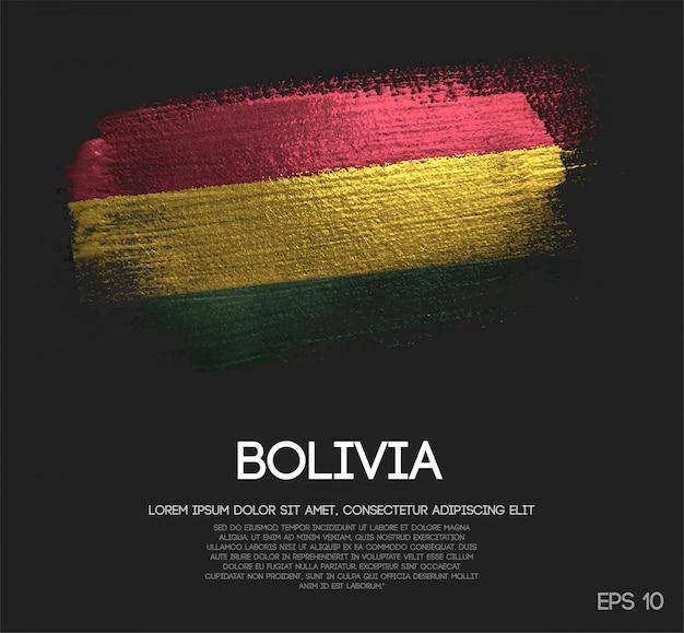 Bandeira da bolívia, feita de glitter sparkle escova paint vector