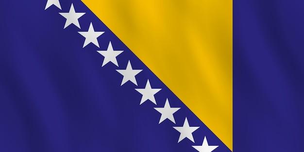 Bandeira da bósnia e herzegovina com efeito de ondulação, proporção oficial.