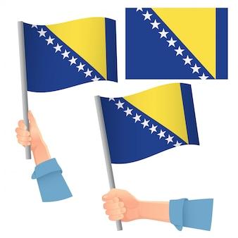 Bandeira da bósnia e herzegovina na mão definida