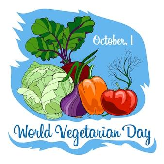 Bandeira da celebração do dia do vegetariano do mundo com vegetais.